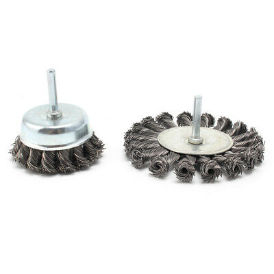 2Pcs 75/100mm Stainless Steel Wire Wheel Brush Twist Knot For Polishing Cleaning
