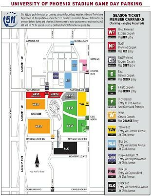 Los Angeles Rams @ Arizona Cardinals Orange West Parking Pass West Gate 12/1