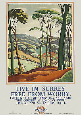 Live in Surrey Free From Worry -  Old Vintage  S E Railway Travel Poster Reprint