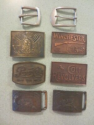Lot of 8 Vintage Belt Buckles Colt Pepsi Winchester Ford