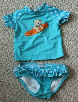 0471e5bf92 Gymboree two piece rash guard swimsuit for baby girl size 12-18 months