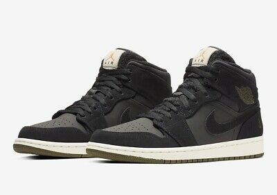 the best attitude cbf82 98852 NIKE AIR JORDAN 1 Retro Mid OLIVE GREEN CANVAS BLACK BQ6579 001 sz 11 Men's