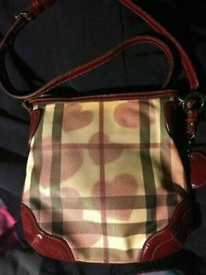 76443423ba3 100%Auth Burberry Hearts Messenger Nova Check Purse Red Bag Crossbody  Handbag