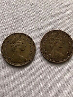 ✨1p COINS, CIRCULATED 1979 NEW PENNY COINS X2, Good condition, VERY RARE L@@k✨