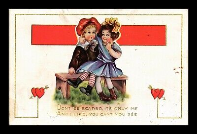 Us Postcard Valentine Humor Don't Be Scared Children On Bench