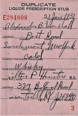 Prohibition Whiskey Cold Prescription Old Doctor Stub Marshall Bar Larchmont NY