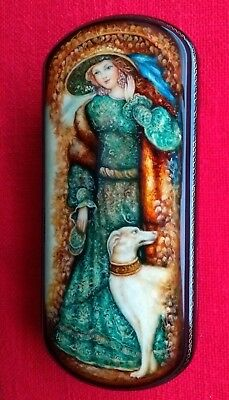 Russian Fedoskino Papier Mache Jewellery Lacquer Trinket Box Girl Hat With Dog