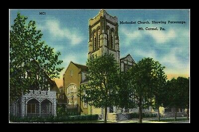 Us Methodist Church And Parsonage Mt Carmel Pennsylvania Linen Postcard
