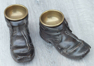 Two Black Forest Carved Wood Boots & Original Brass Cups...hobnail, Super Pieces