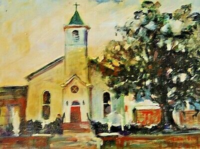 """St Augustine Church on Cane River"" Original Canvas Art Signed Oil Panting"