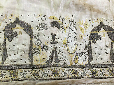 Antique Bullion Thread Embroider India ? Middle East Ottoman Panel Altar Cloth