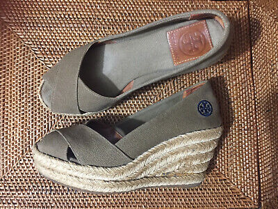 58207f6c8f6 AUTHENTIC TORY BURCH Olive / Khaki Brown Filipa Wedge Espadrille Shoes -  Size 5