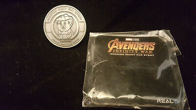 Avengers Infinity War Opening Night Fan Event Coin Silver Thanos Endgame