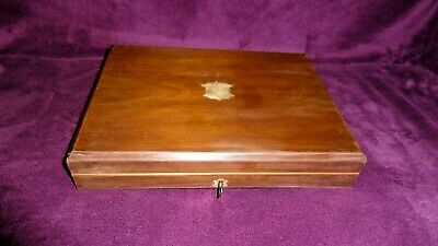 Vintage Antique Wooden Canteen Of Cutlery Box Chest Display Box Brass Fittings