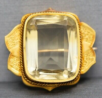Antique Victorian 23.00ct Golden Lemon Yellow Citrine Quartz Engraved Pin Brooch