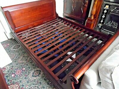King Size Solid Mahogany Sleigh Bed Vintage Well Built Expensive Type In VGC