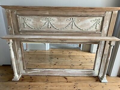 Antique pine Victorian over mantel Mirror Shabby Chic