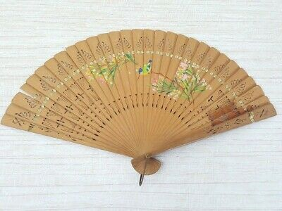 Hand painted wooden cutwork fan flowers bird ribbon Vintage delicate collectable