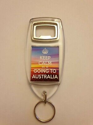 """/""""Keep Calm We/'re going to Australia/"""" Holiday Keyring Bottle Opener Gift"""