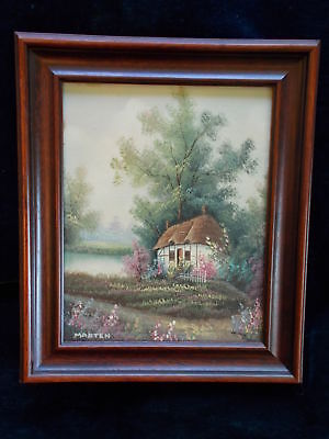 Original Vintage oil painting canvas Cottage by lake Signed
