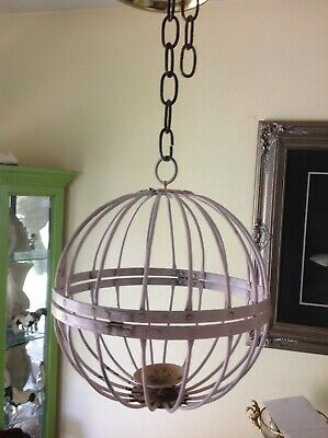American Gothic Revival Wrought Iron cage Ball Antique Hanging candle Light