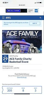 Ace Family Charity Basketball Event Ticket