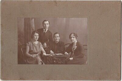1920s Beautiful family w/ mother man women fashion Russian old antique photo
