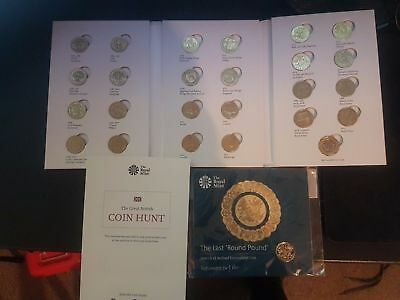ONE Pound Coins full set 25 coins in ALBUM + LAST round one coin in folder