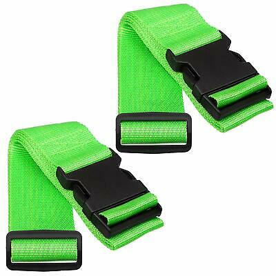 2 x Green High Visible Adjustable Non-Slip Luggage Straps Safety Travel Suitcase
