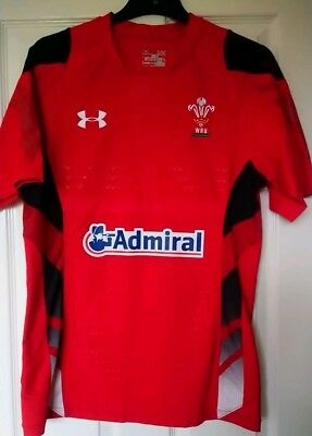 24ff3649515 UNDER ARMOUR WRU Wales Rugby Adult's Home Supporters Shirt Red ...