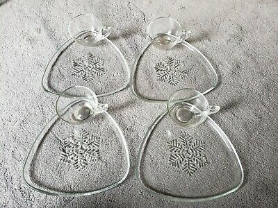 Vintage Snowflake Triangle Luncheon Snack Set of 4 Indiana Glass Plates Cups