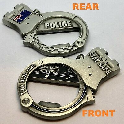 Handcuff Coin / Bottle Opener, Silver, Police, Thin Blue Line, 1 x Item