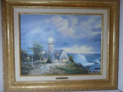 Thomas Kinkade - A Light in the Storm - 21 1/4 x 17 1/4 in Antique Gold Frame