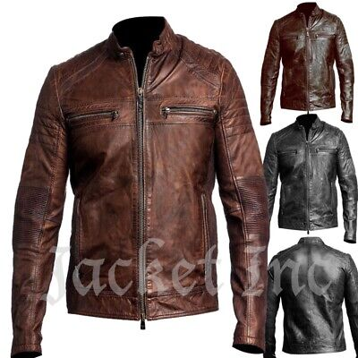 New Men's Genuine Lambskin Leather Jacket BLACK & BROWN Slim fit Biker B32