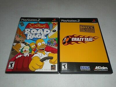 CRAZY TAXI + Simpsons Road Rage - PS2 PlayStation 2 - 2 Game