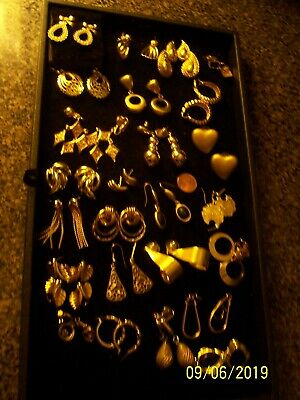 Vintage Lot Of 35 Pair Gold Tone Earrings Great Asst