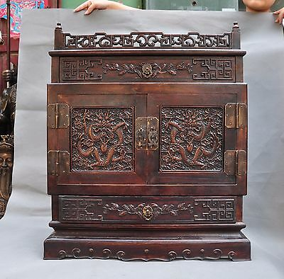 Chinese Rosewood wood Hand carved Dragon Loong statue cabinet drawer lockers box