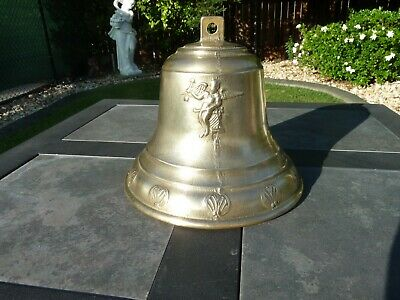Vintage Brass Ship Or Wall Bell With Embossed Angels