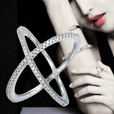Criss Cross CZ Crystal Cocktail Silver Ring Fashion Women Rings Jewelry 1 Pcs