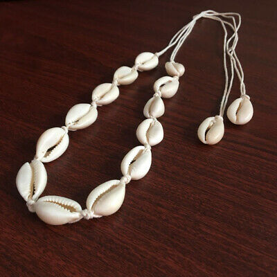Women Ivory White Cowrie Shell Pendent String Choker Necklace Bohemian Jewelry