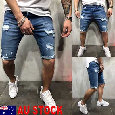 AU STOCK Men Shorts Pants Skinny Distressed Denim Shorts Ripped Jeans Destroyed