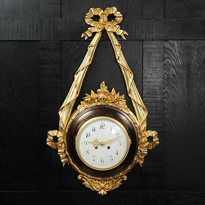 Antique French Louis XVI Ormolu and Bronze Cartel Wall Clock ~ very large