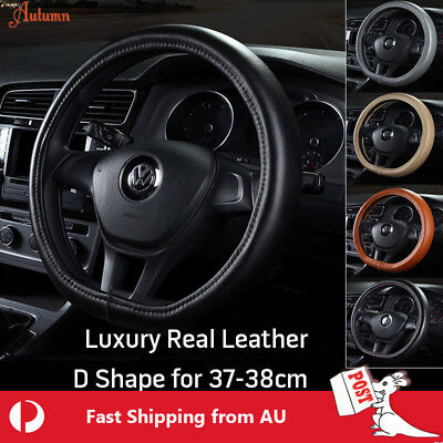 Luxury Car Real Leather Steering Wheel Cover 38cm D Shape Auto Van Comfort Golf