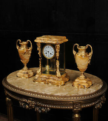 Japy Freres Antique French Sienna Marble and Ormolu Crystal Four Glass Clock Set
