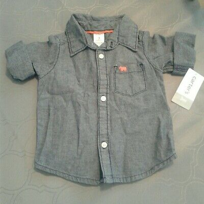 NEW Carters Baby Boys Short Sleeve Denim Button Up 3-6m