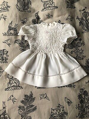 Vintage Pretty French Small Girls Dress White Smock Style Top 1950s 1960s