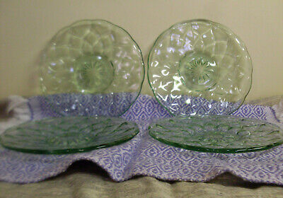 Four (4) Green Depression Glass Saucers / Plates. Excellent condition.