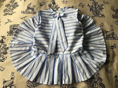 Vintage French Small Girls Blue & White Summer Dress Bow Detail