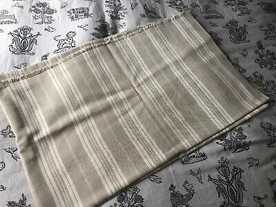 Vintage Used Large Piece Of French Ticking Fabric AF