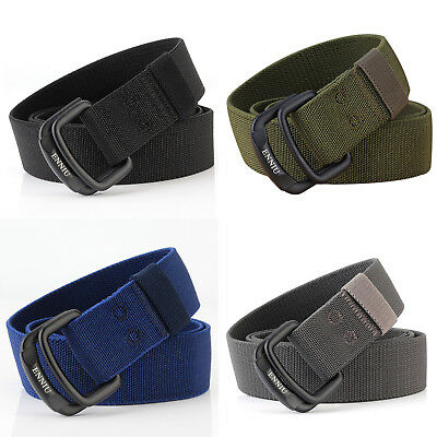 Nylon Double Ring Alloy Buckle Belt Outdoor Sport Military Tactical Strip 120cm